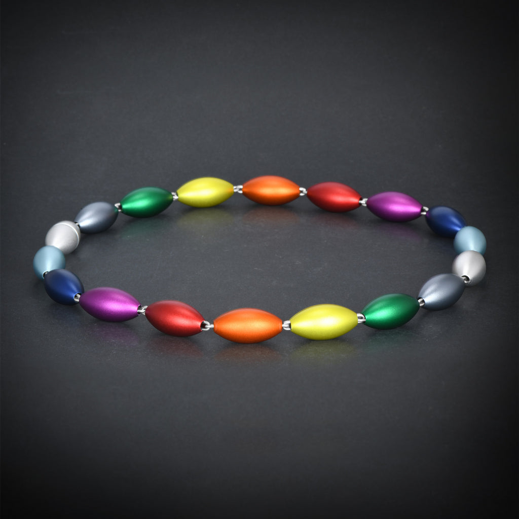 """Colorful aluminum"" collection oval shapes necklace"