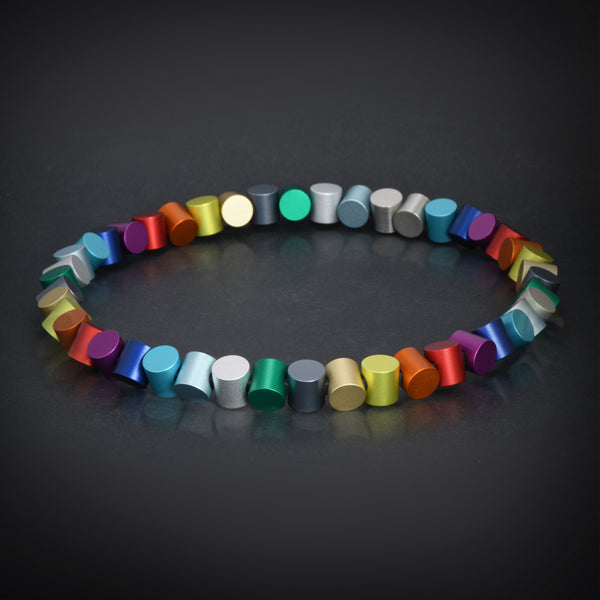 """Colorful aluminum"" collection multishapes necklace"