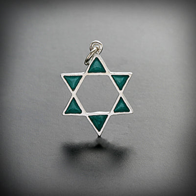 Small star of David pendant, open shape, gold or silver with enamel