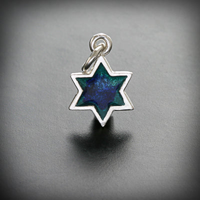 Star of david gold/silver and enamel pendant