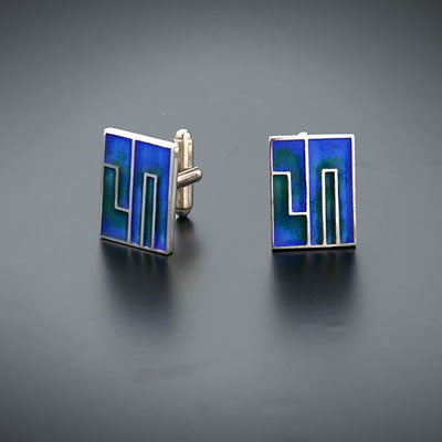 Chai silver and enamel cufflinks