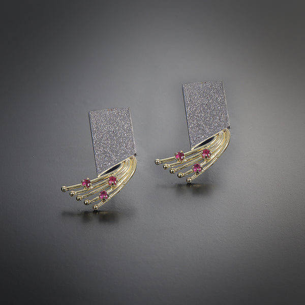 """Tree of life Collection"" silver&gold rectangle earrings"