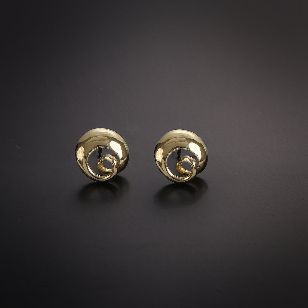 Spiral casual stud gold earrings