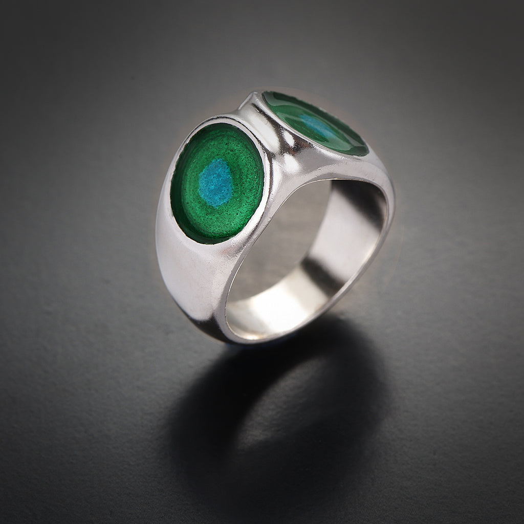 Wide colorful silver & enamel ring