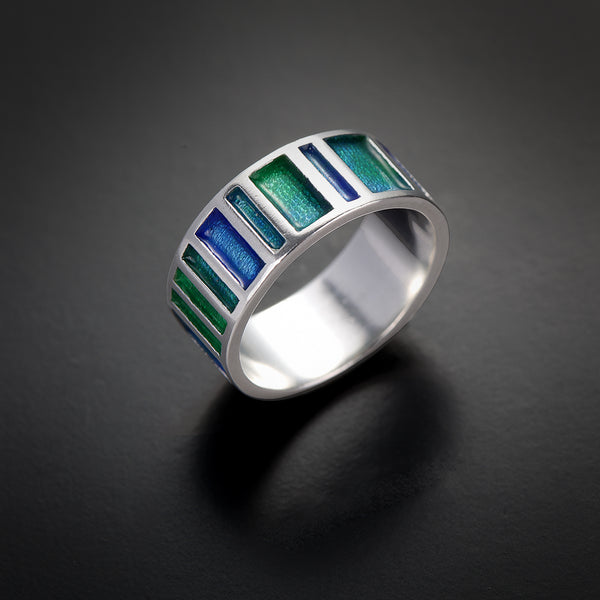 Linera shapes silver&enamel ring