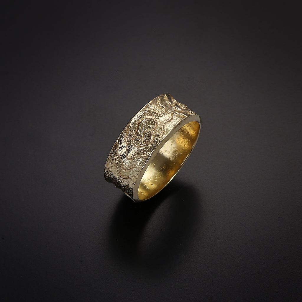 engrave texture gold ring