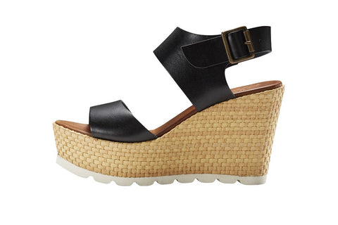 Zeppa Midnight Black Platform Wedge