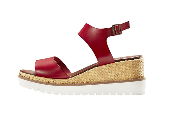 Carolina Dark Red Open Toe Wedge