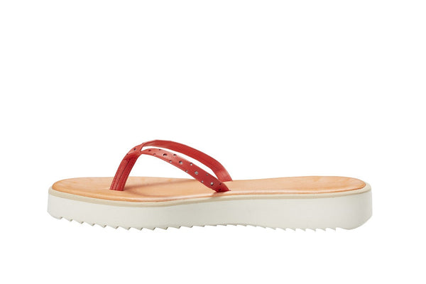 Positano Papaya Leather Thong Sandal
