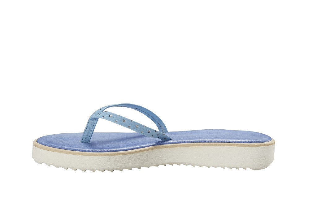 Positano Sky Blue Leather Thong Sandal