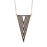 Boom Vamp 4 Triangle Necklace Rose Gold Black Stones