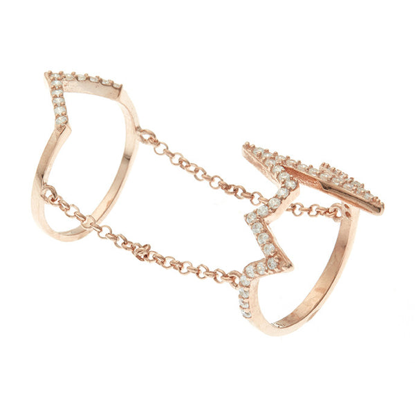 Boom Electric Zig Zag Double Ring Rose Gold