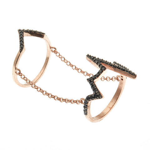 Boom Electric Zig Zag Double Ring Rose Gold & Black Stones