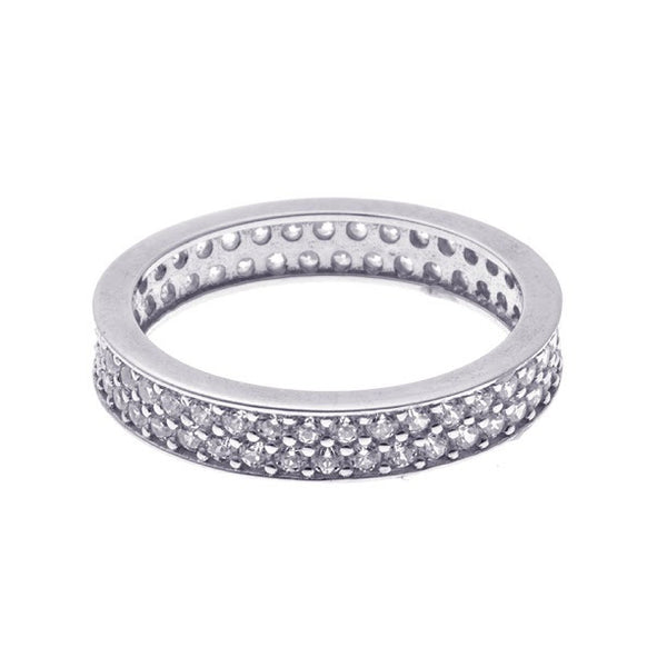 Boom Pave Stackable Double Band Midi Sterling Silver