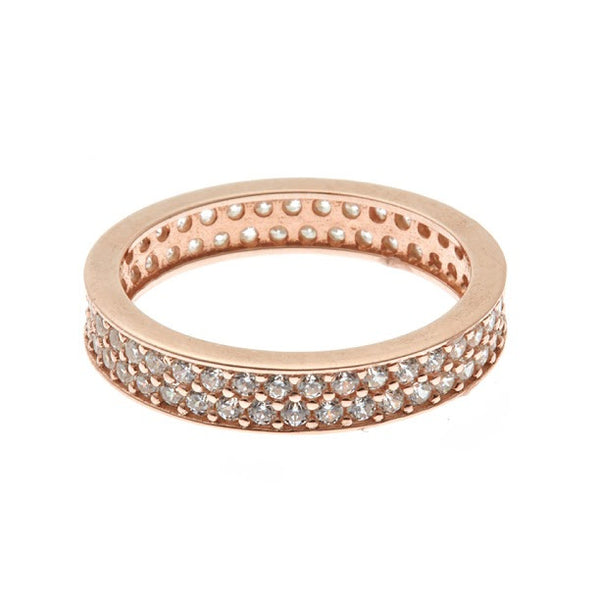 Boom Pave Stackable Double Band Midi Ring Rose