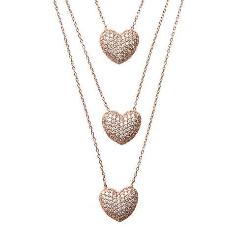 Love Triangle Tripe Pave Heart Necklace Rose Gold