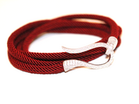 Red Wine & Silver Rope Wrap Around Bracelet