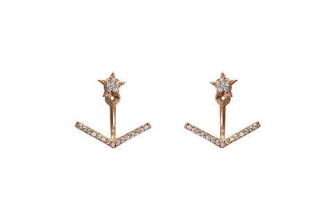 Boom Arrow Star Ear Jackets Rose Gold