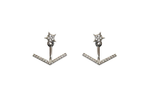 Boom Arrow Star Ear Jackets Sterling Silver