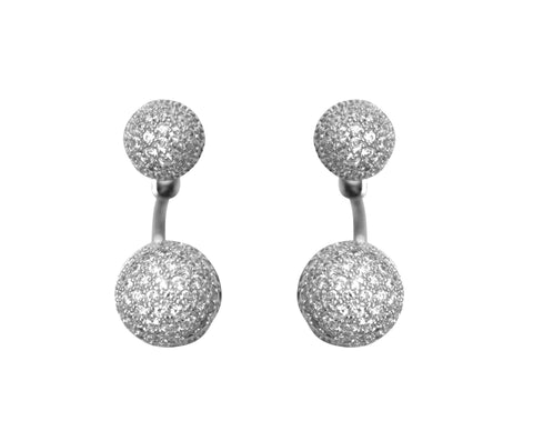 Boom Disco Ball Ear Jackets Sterling Silver