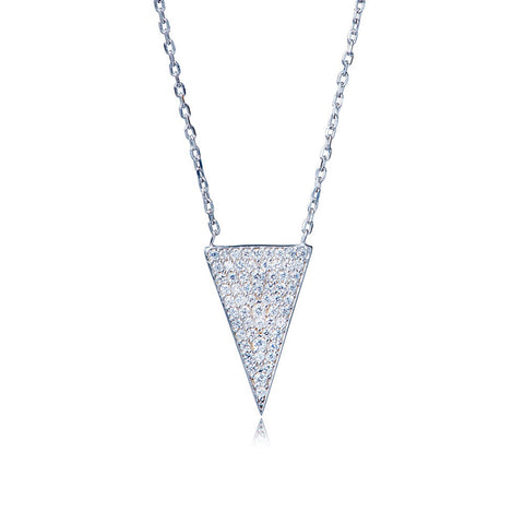 Boom Pave Triangle Necklace Sterling Silver