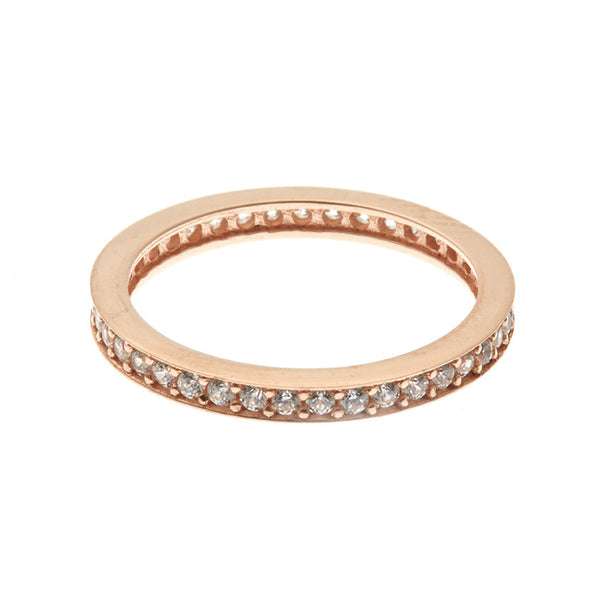 Boom Stackable Pave Band Midi Ring Rose Gold