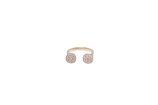 Double Pave Disco Disc Ring Rose Gold