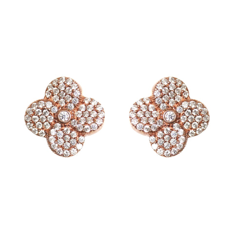 Boom Pave Flower Stud Earrings Rose Gold