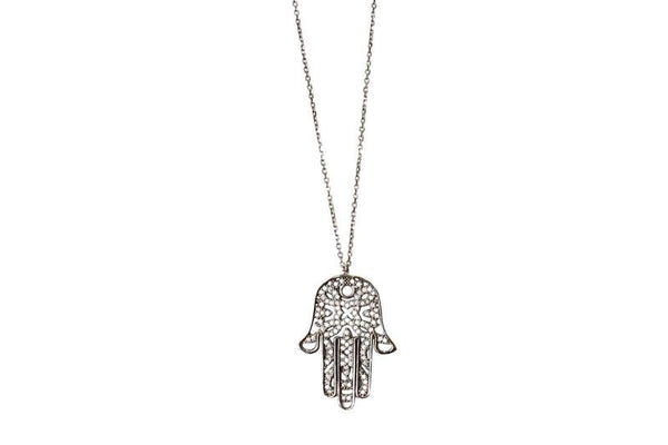 Boom Hamsa Hand Sterling Silver Pendant Necklace