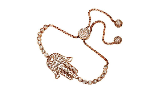 Boom Hamsa Adjustable Tennis Bracelet Rose Gold