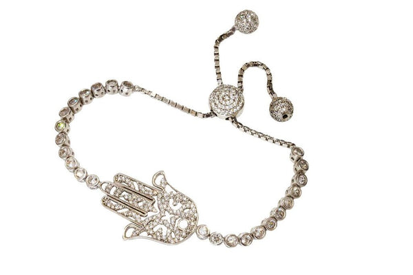 Boom Hamsa Adjustable Tennis Bracelet Sterling Silver