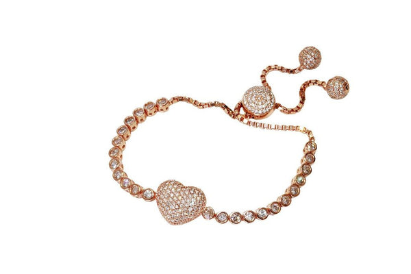 Boom Goes My Heart Adjustable Tennis Bracelet Rose Gold