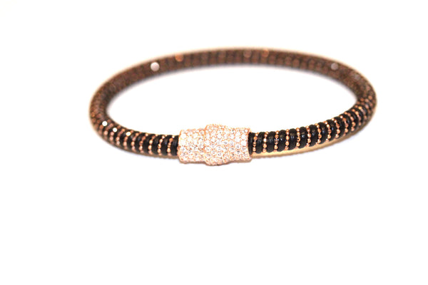 Boom Leather Pave Clasp Magnetic Bracelet Black & Rose Gold