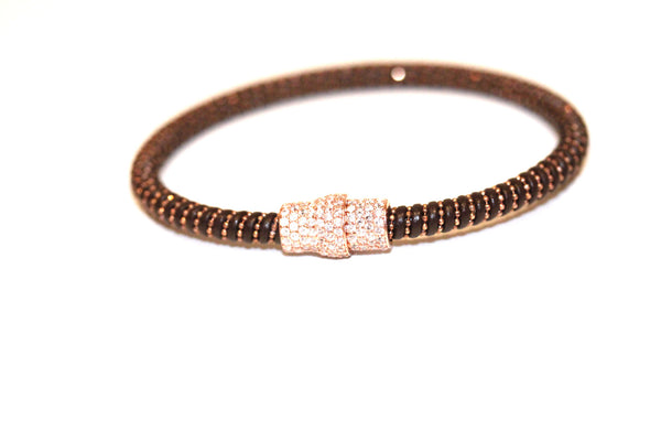 Brown Leather Pave Clasp Magnetic Bracelet Rose Gold
