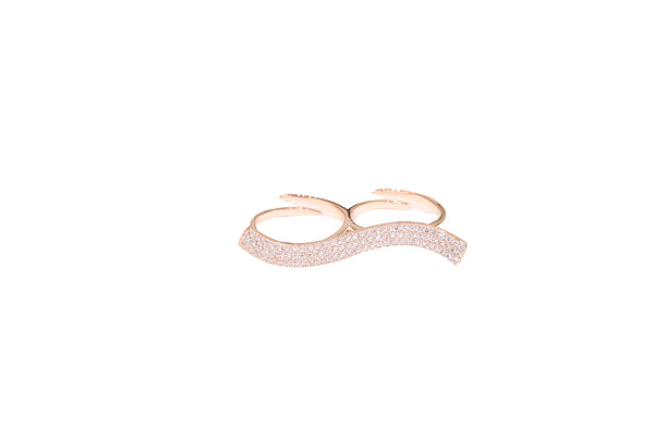 Boom Wave Double Finger Ring Rose Gold