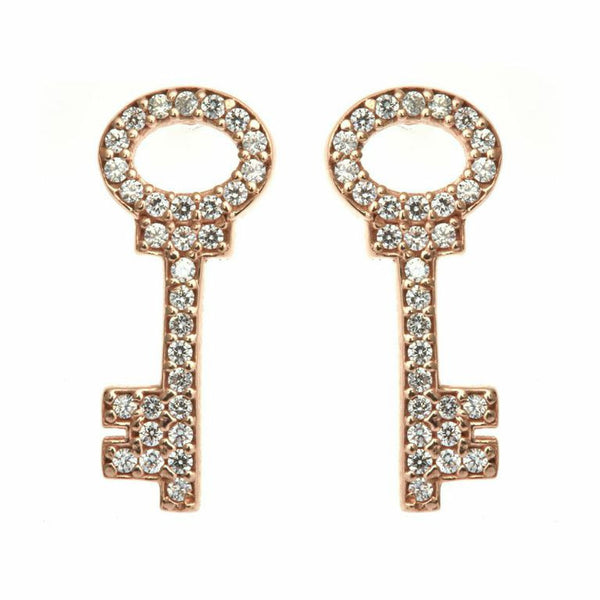 Boom Pave Key Stud Earrings Rose Gold