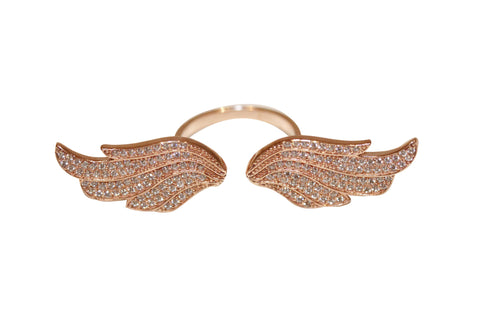 Boom Fly With Me Large Double Wing Ring Rose Gold