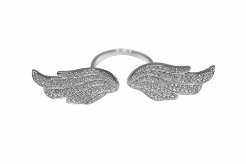 Boom Fly With Me Large Double Wing Ring Sterling Silver