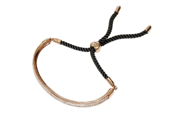 Boom Micro Pave Half Bangle On Grey Rope Rose Gold