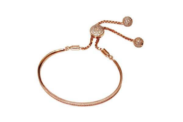 Boom Pave Line Half Bangle On Chain Rose Gold