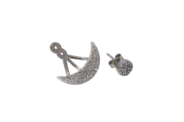 Boom Pave Swing Ear Jackets Sterling Silver