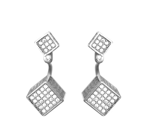 Boom Roll Those Dice Ear Jackets Sterling Silver