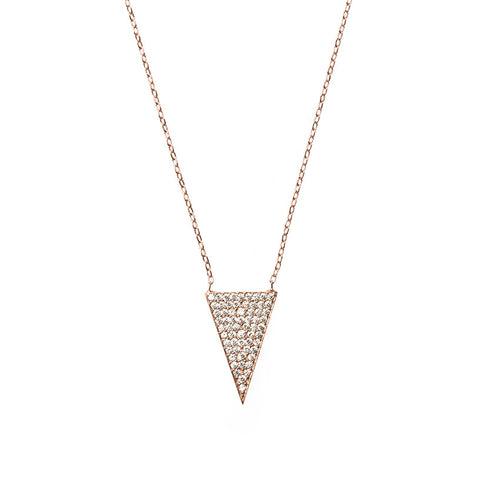 Boom Pave Triangle Necklace Rose Gold