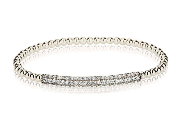 Boom Beaded Pave Bar Elastic Bracelet Sterling Silver