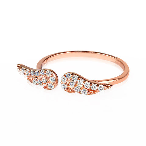Fly With Me Small Double Wing Ring Rose Gold