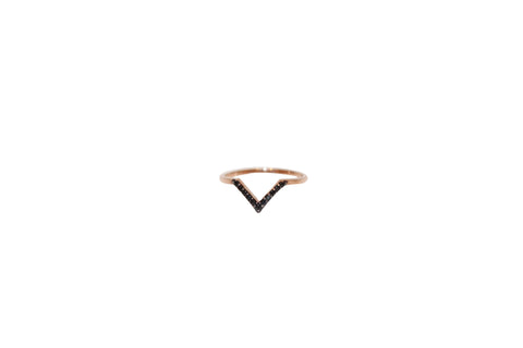 Boom Very V Pave Ring Rose Gold & Black Stones