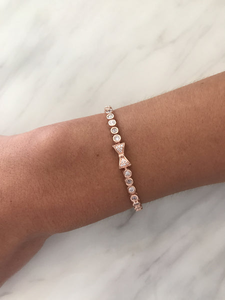 Boom Bow Tennis Bracelet Rose Gold