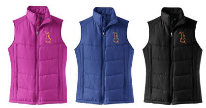 Ladies Puffy Vest with Rhodesian Ridgeback Embroidery