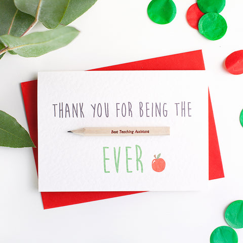 Teacher/Teaching Assistant Thank You Card With Pencil