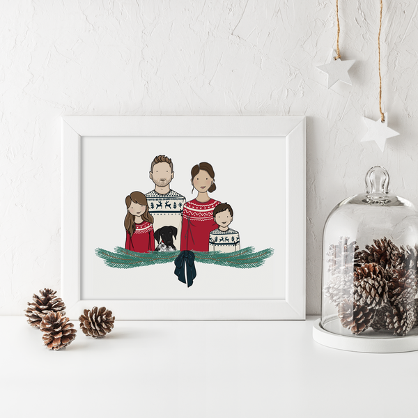 Personalised Christmas Family Portrait Illustration